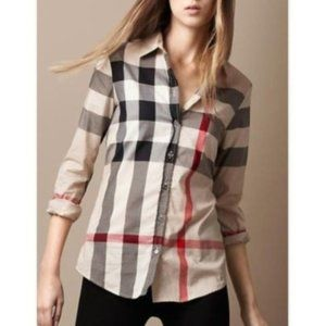 Burberry Nova Check Print Plaid Shirt Top